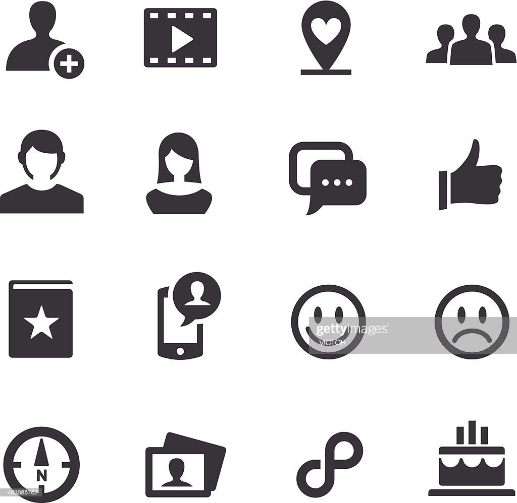 Black and white various social media icons