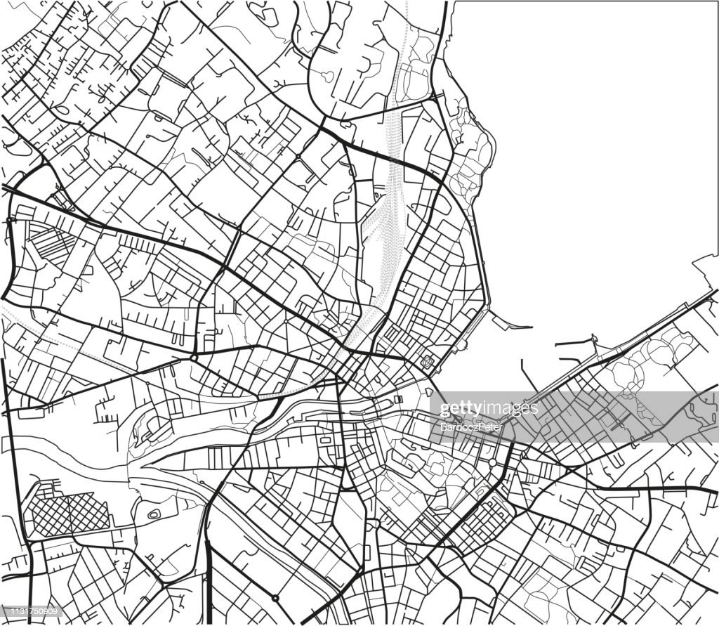 Black and white vector city map of Geneva with well organized separated layers.