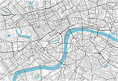 Black and white vector city map of London with well organized separated layers.