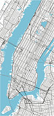 Black and white vector city map of New York with well organized separated layers.