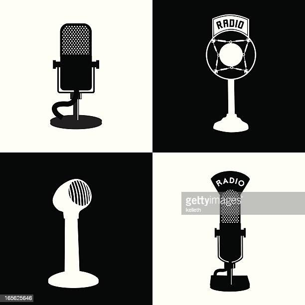 Black and white vector graphics of radio related equipment