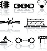Black and white vector icons of crime and justice
