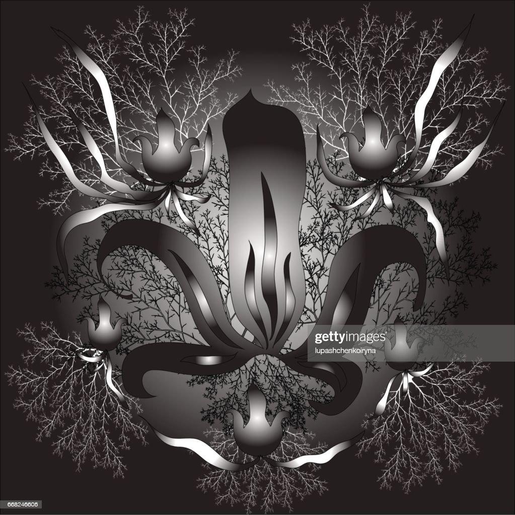 Illustration Vectorielle Noir Et Blanc Dune Fleur De Lys Stylisee