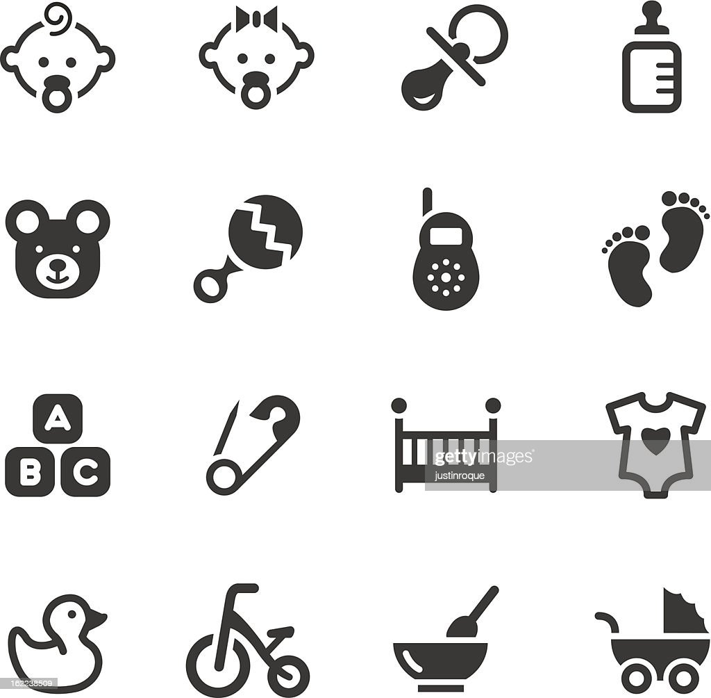 Black and white vector illustration of baby icons