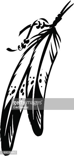 black and white vector outline of two feathers tied together - indigenous north american culture stock illustrations, clip art, cartoons, & icons