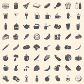 Black and white vector set of 64 food icons in vintage style