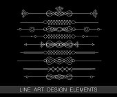 Black and white vector set of art border design elements
