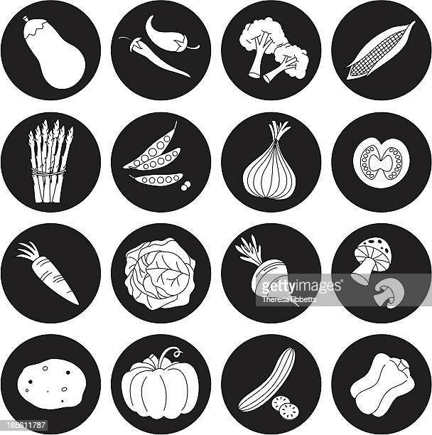 black and white vegetable icon set - savoy cabbage stock illustrations, clip art, cartoons, & icons