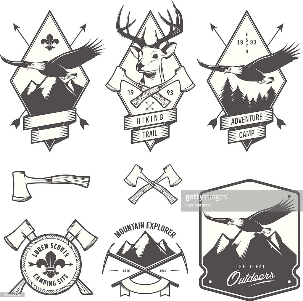 Black and white vintage hiking and camping labels