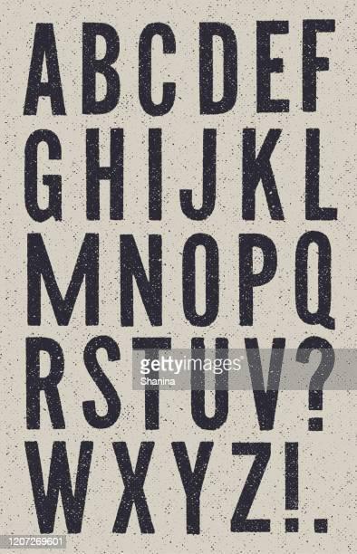 ilustrações de stock, clip art, desenhos animados e ícones de black and white vintage newspaper alphabet - abc