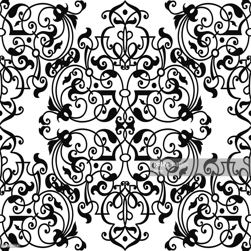 Black and white wallpaper pattern : Vector Art