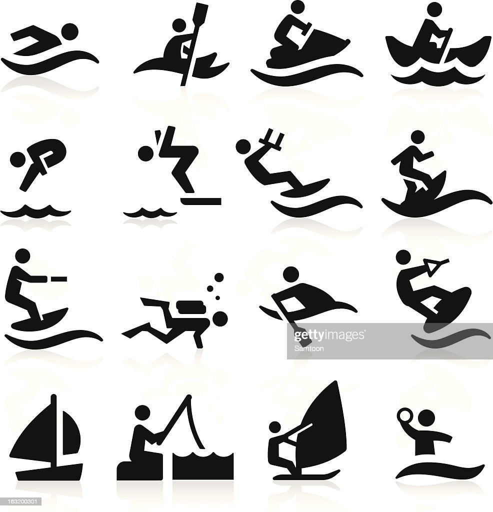 Black and white water sports icons