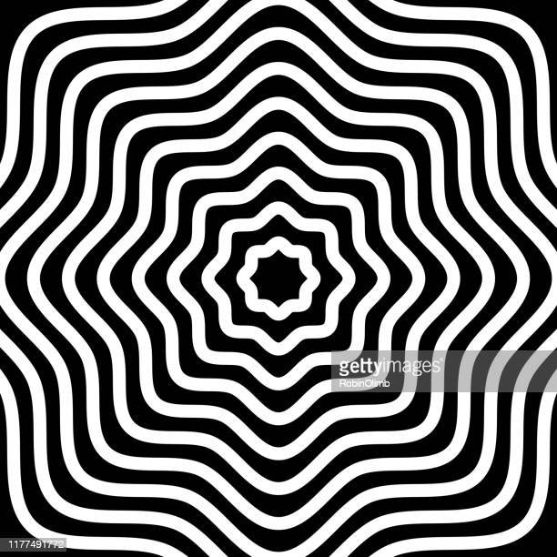 black and white waves psychedelic background - optical illusion stock illustrations