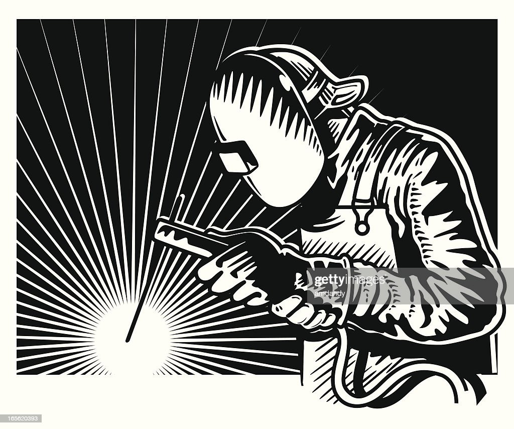 Blanco y negro de soldadura : Ilustración de stock