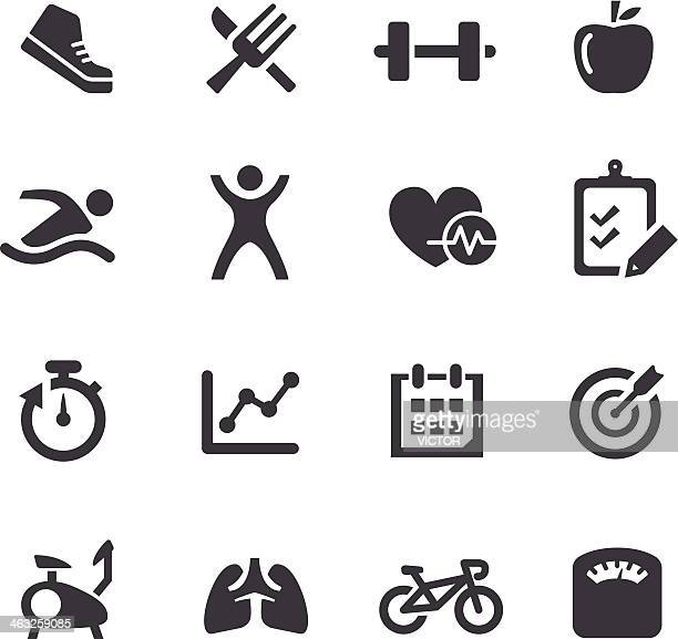 Black and white well-being icons