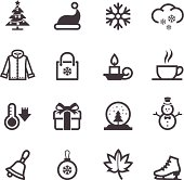 Black and white winter icons montage