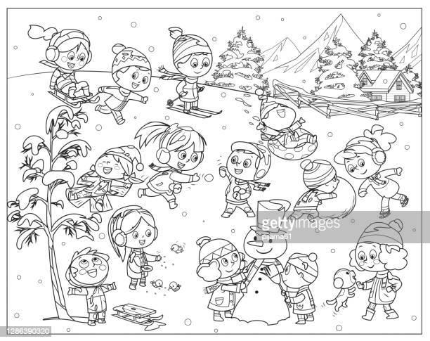 ilustraciones, imágenes clip art, dibujos animados e iconos de stock de blanco y negro, actividades para niños de invierno. juegos de nieve, niñas y niños sonrientes en invierno ropa diversión al aire libre - winter sport