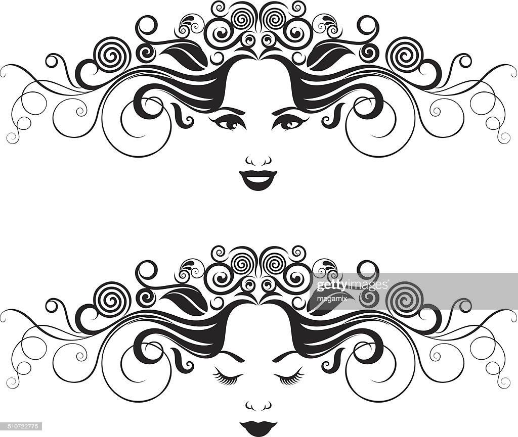 Preto e Branco Retrato de mulheres. : Ilustração