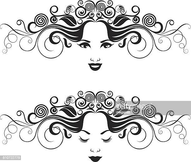 black and white women portrait. - eyes closed stock illustrations, clip art, cartoons, & icons