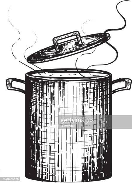 ブラックとホワイトの木版鍋で煮込んだスープスチーム開く蓋 - とろ火で煮た点のイラスト素材/クリップアート素材/マンガ素材/アイコン素材
