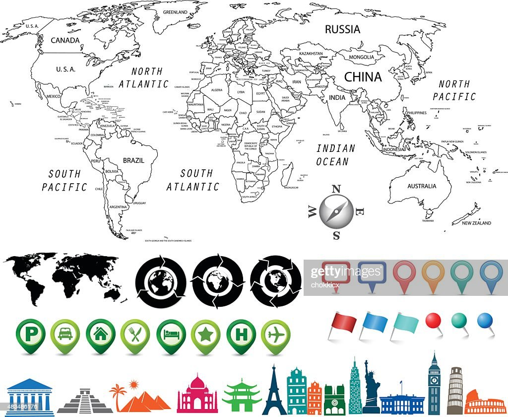 Black and white world map kit vector art getty images black and white world map kit vector art gumiabroncs Gallery