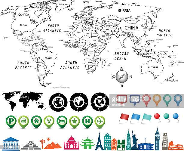black and white world map kit - cultures stock illustrations