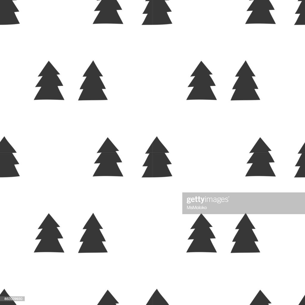 Winter Graphic Seamless Pattern With Hand Drawn Christmas Trees Stock  Illustration - Illustration of gift, seamless: 103602605