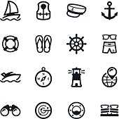 Black and white yacht club icons
