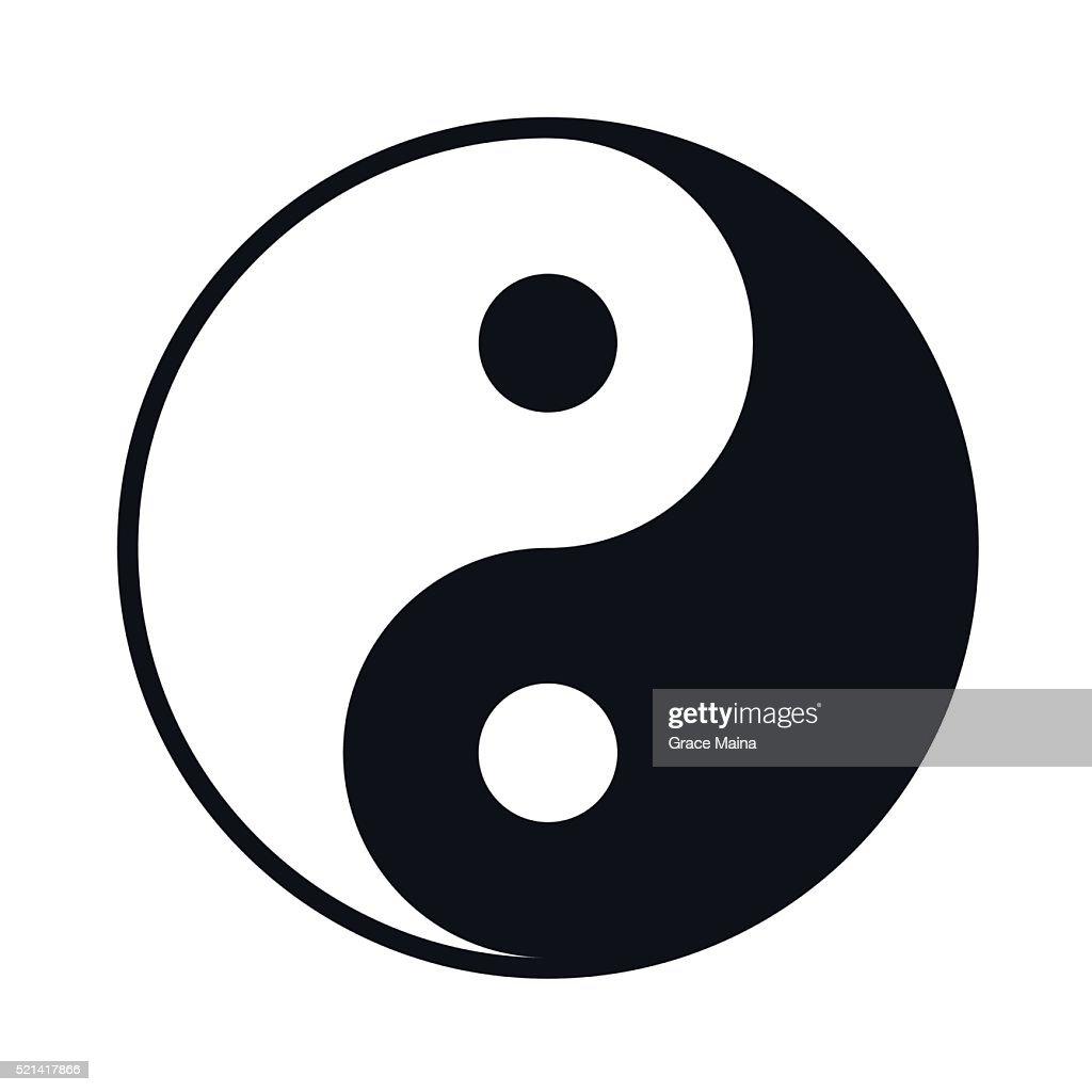 Black And White Yin Yang lIllustration - VECTOR