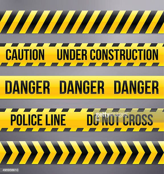 black and yellow caution and warning tapes - danger stock illustrations