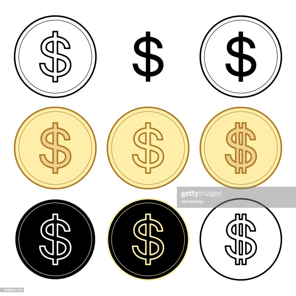 black and yellow dollars - vector set of coins