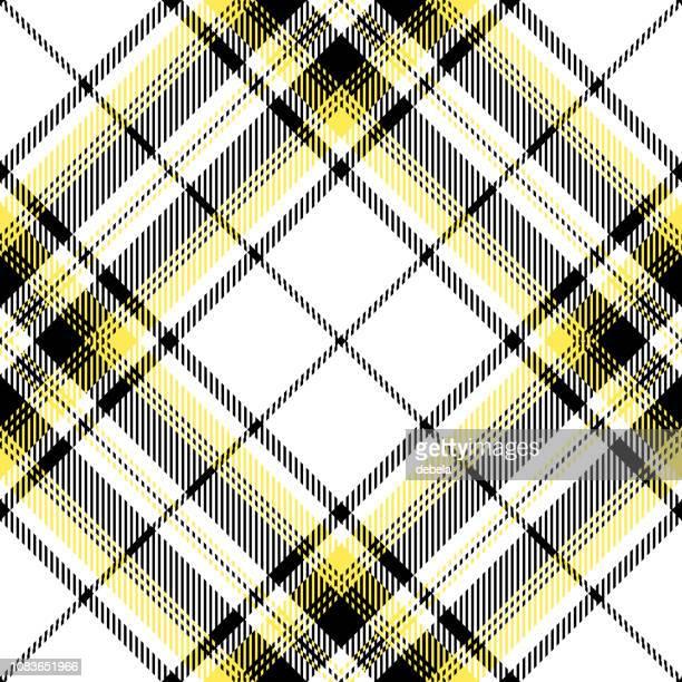 black and yellow scottish tartan plaid textile pattern - scottish tweed stock illustrations, clip art, cartoons, & icons