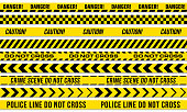 Black and yellow stripes vector police tape for do not cross, or danger caution and crime scene line