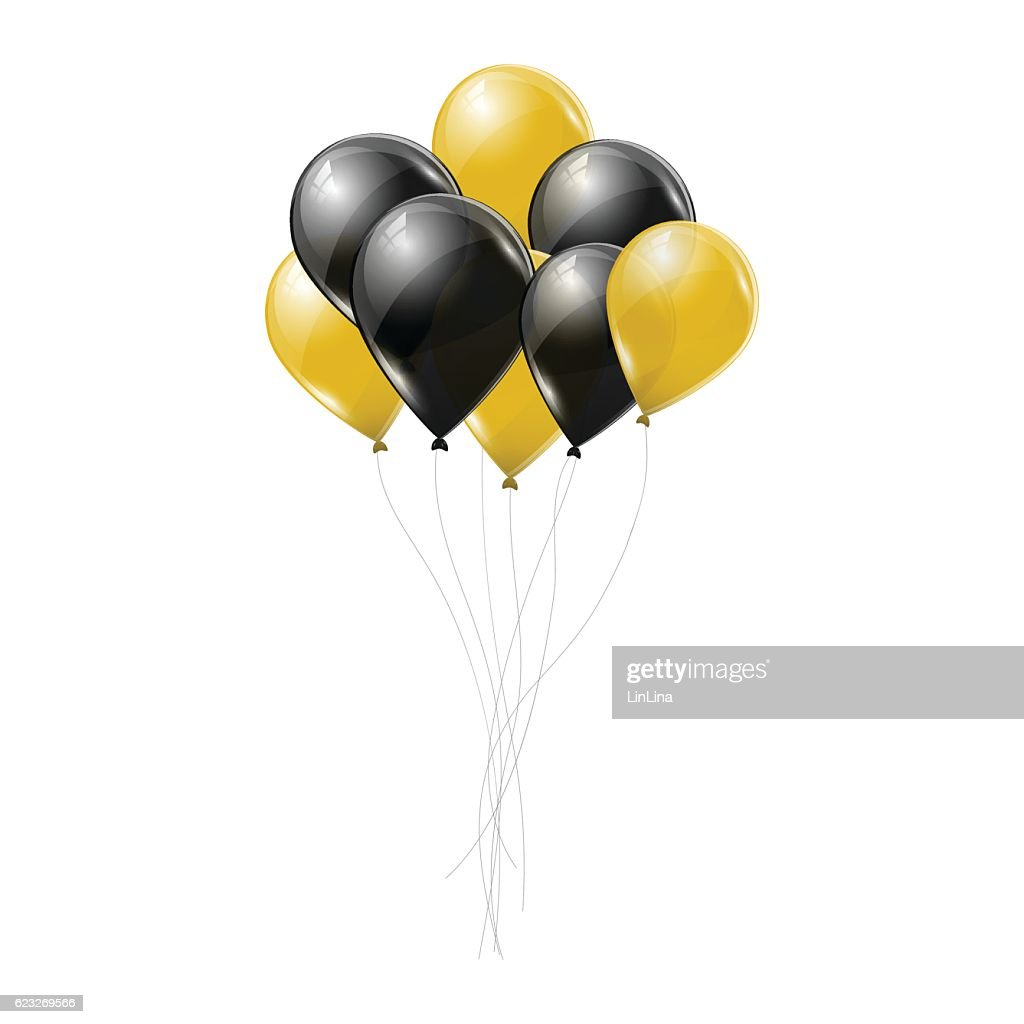 Black and yellow transparent helium balloons on white background.