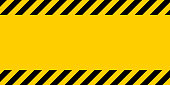 Black and yellow warning line striped rectangular background, yellow and black stripes on the diagonal