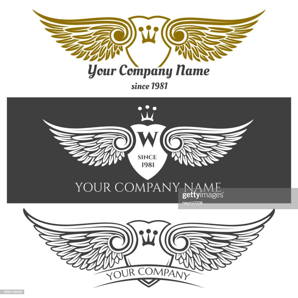 Black angel wings logo set