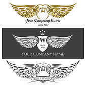 Black angel wings logo set