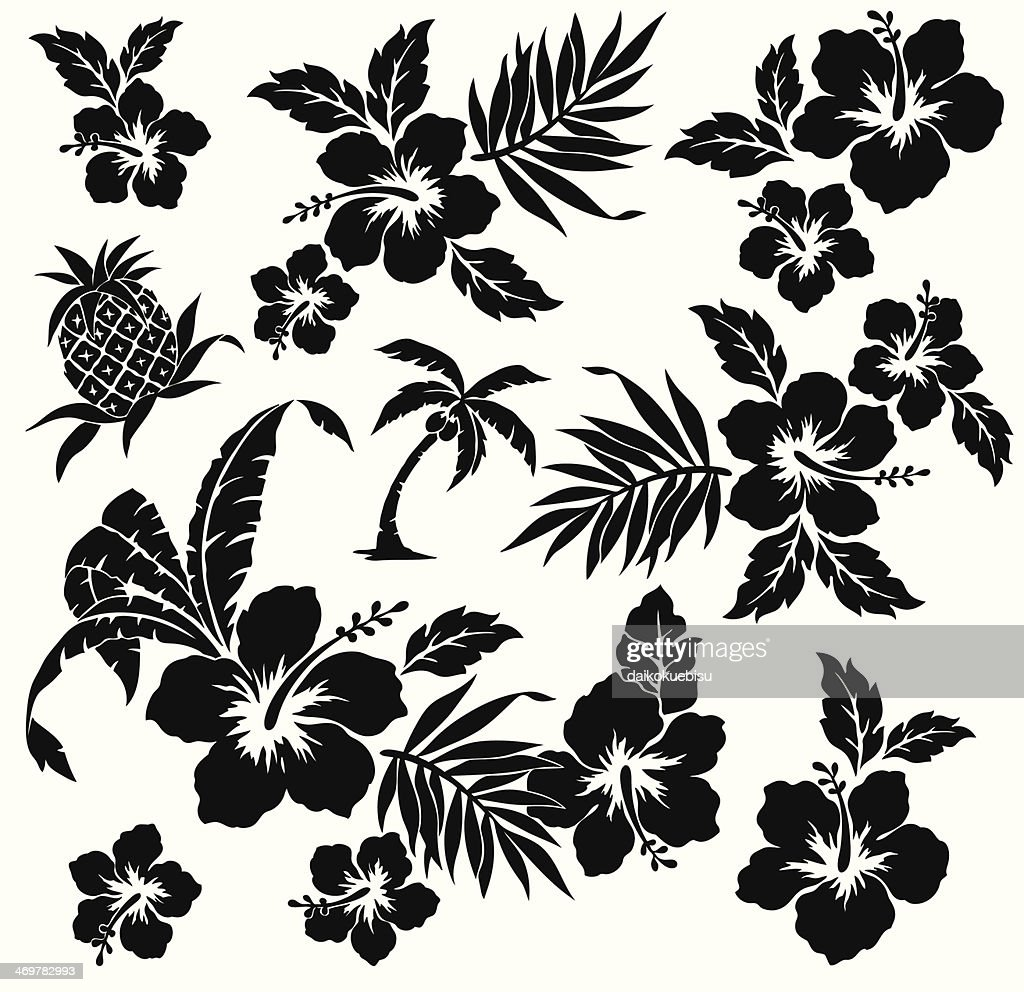 A black animated picture of the flower hibiscus on white
