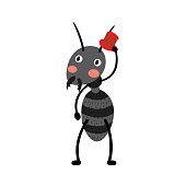 Black ant with red hat cartoon character.