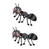 Black ants cartoon character.