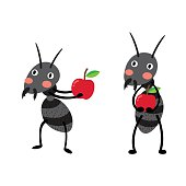 Black ants with red apples cartoon character.