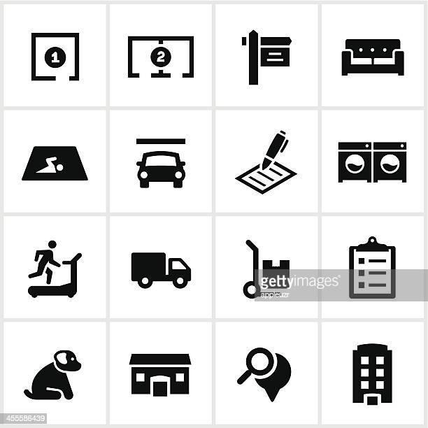 Black Apartment Rental Icons