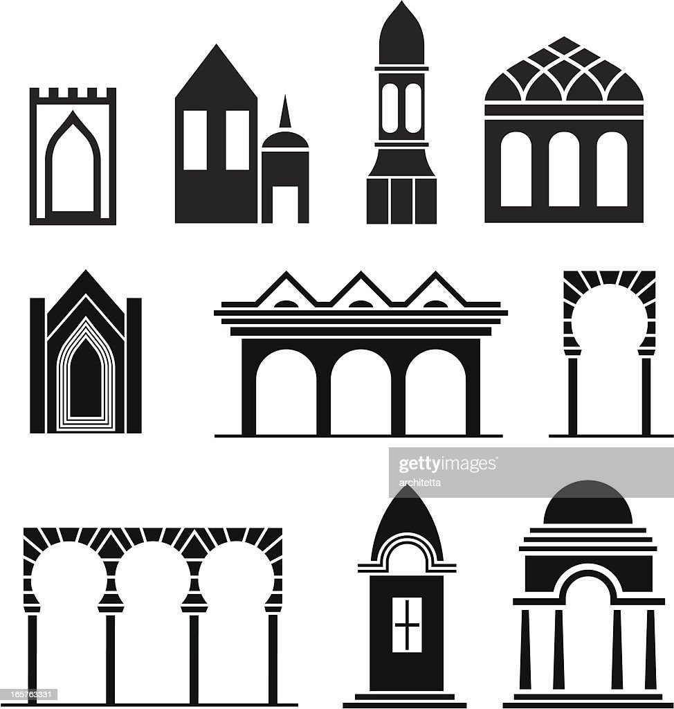 Black architectural icons on white