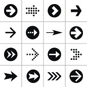 Black arrow 100 pictogram icon set simple mono minimal style