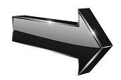 Black arrow. 3d shiny icon