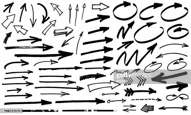schwarze pfeile - pinsel stock-grafiken, -clipart, -cartoons und -symbole