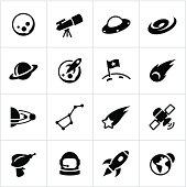 Black Astronomy Icons