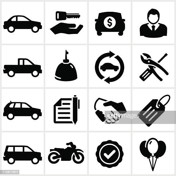 black auto dealership icons - car salesperson stock illustrations, clip art, cartoons, & icons