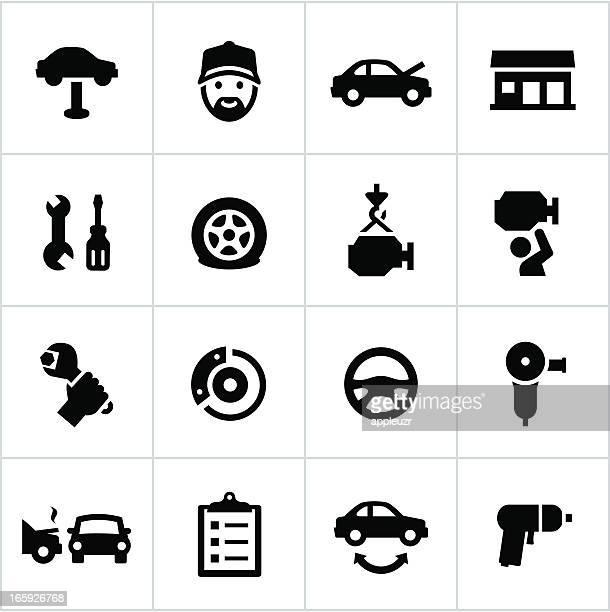 Black Auto Repair Icons