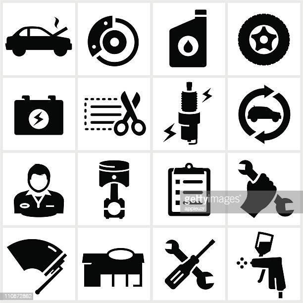 Black Auto Repair Shop Icons
